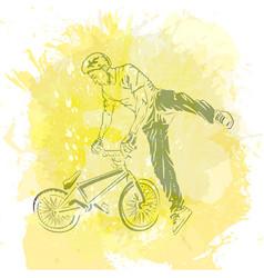 bike rider jumping vector image