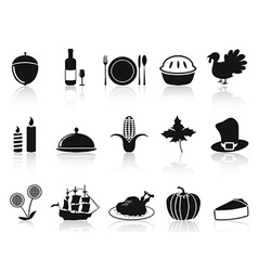 black thanksgiving icons set vector image vector image