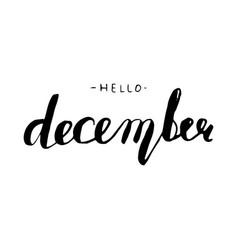 hello december lettering vector image vector image