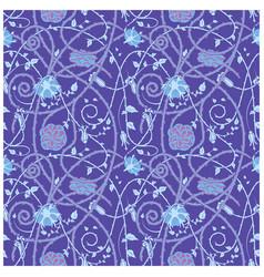 medieval flowers pattern blue vector image