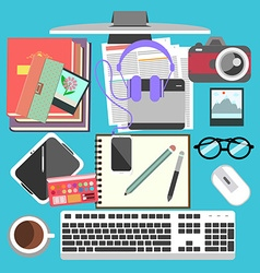 Messy working table vector image