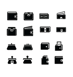 wallet icons set 16 item vector image