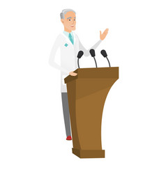 caucasian doctor giving a speech from tribune vector image
