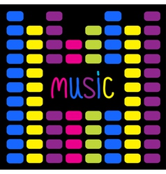 Colurful digital equalizer and word Music Card vector image