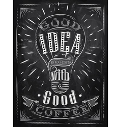 Poster good idea coffee chalk vector image vector image