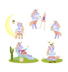 set of funny unicorn vector image vector image