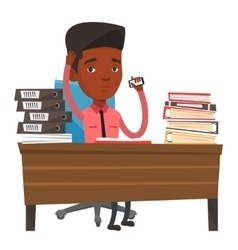 Stressed business man working in office vector