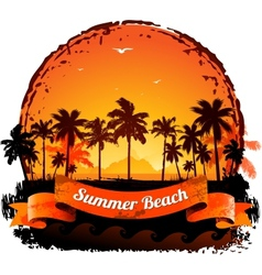 Summer holidays tropical sunset background vector image vector image
