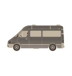 van flat icon isolated vehicle side view truck vector image