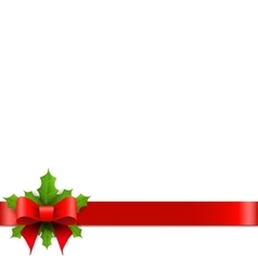 Christmas red bow with holly vector image vector image