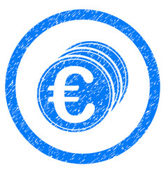 euro coins rounded icon rubber stamp vector image