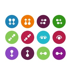 Hand gestures circle icons on white background vector image