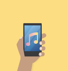 hand with music icon on mobile phone vector image vector image