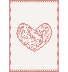 pattern with red heart vector image vector image