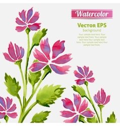 Watercolor flowers invitation pattern with ribbon vector image vector image
