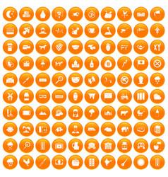 100 cow icons set orange vector