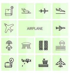 14 airplane icons vector