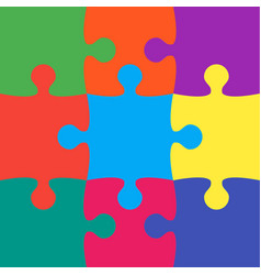 9 colorful puzzle jigsaw puzzle background vector image