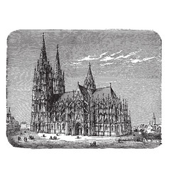 A southern view of the cathedral of cologne in vector