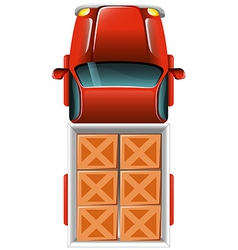 A topview of a delivery truck with tiles vector image