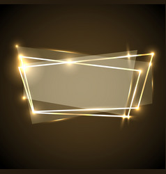 Abstract background with gold neon banner vector