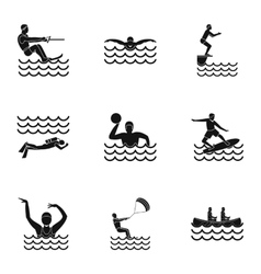 Active water sport icons set simple style vector