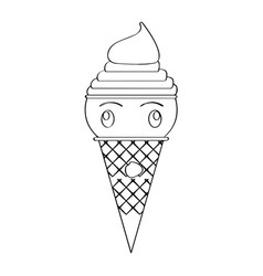 Amazed ice cream cone vector