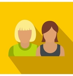 Avatar two female flat icon vector