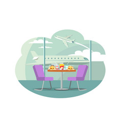 Bistro cafe at airport table with served food vector