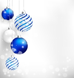 Blue Christmas balls on white vector