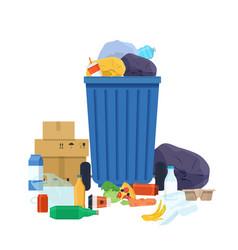 Blue garbage bin full trash vector
