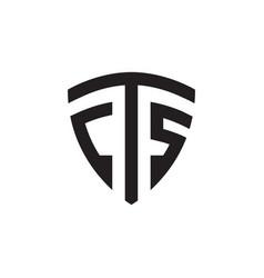 C t s shield letter logo design concept vector