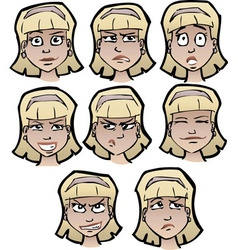 cartoon emotional faces female vector image