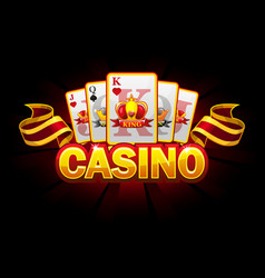 casino banner with suit playing cards vector image
