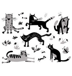Cats set in childrens minimalistic style vector image vector image