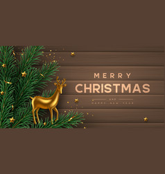Christmas horizontal banner with gold metal deer vector