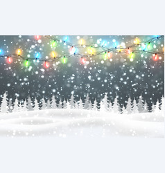 Christmas snowy night woodland landscape with vector