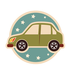 color circular emblem with small automobile vector image