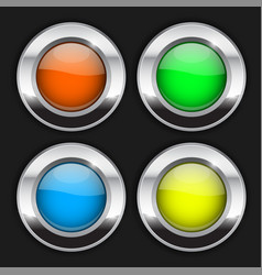 colored round buttons glass 3d shiny icons with vector image