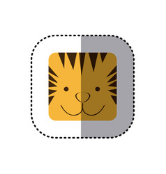 colorful face sticker of tiger face in square vector image