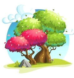 Colorful trees under the clouds vector