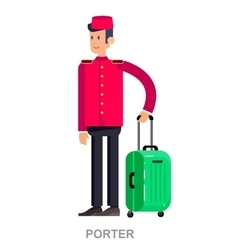 Cute and happy cartoon indoor hotel porter vector