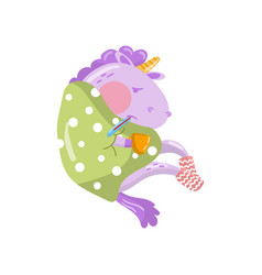 cute unicorn character having flue wrapped in vector image