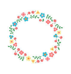 Decorative floral wreath frame from flowers vector