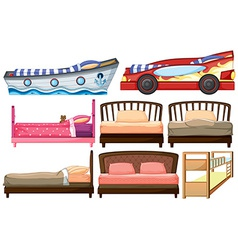 Different bed designs vector