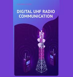 Digital uhf radio communication isometric banner vector
