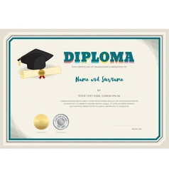 Diploma certificate template with graduation cap vector