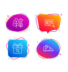 Discount offer tree and search text icons set vector