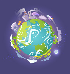 earth globe with skyscrapers and gas emission vector image