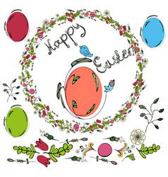 easter composition with birds painted eggs vector image